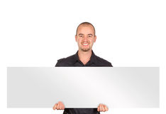 Young man with white board Stock Photos