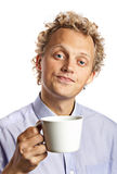 Young man with a white cup Royalty Free Stock Photos