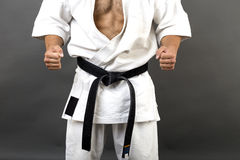 Young man in white kimono and black belt training martial art. Over gray background Stock Image