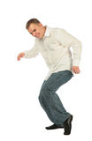 Young man in white shirt dancing Royalty Free Stock Photography