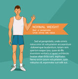Young man in white shirt with normal body build. Comic cartoon illustration. Healthy nutrition article layout. Vector character. Royalty Free Stock Images
