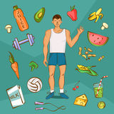 Young man in white shirt with normal body build. Comic cartoon illustration. Healthy nutrition article layout. Vector character wi Royalty Free Stock Image