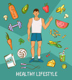 Young man in white shirt with normal body build. Comic cartoon illustration. Healthy nutrition article layout. Vector character wi Stock Images