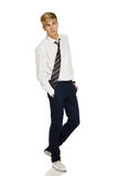 Young man in white shirt and tie Royalty Free Stock Images