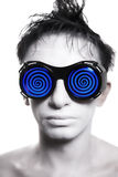 Young man with white skin in strange glasses Royalty Free Stock Photography