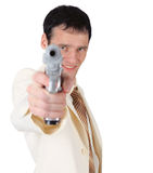 Young man in white suit with pistol Royalty Free Stock Image