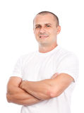 Young man with white t-shirt. Isolated on white background stock photo