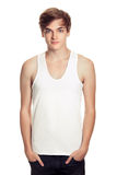 Young man in a white T-shirt isolated. On white stock photo