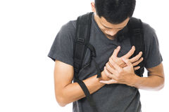 Young man in white t-shirt with strong heart attack Stock Photos
