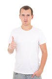 Young man in white  t-shirt thumbs up isolated on white Royalty Free Stock Photography