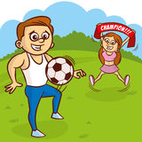 Young man in white undershirt plays with soccer ball stock illustration