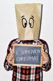 Young man who survived christmas Stock Photo