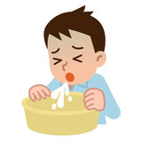 Young man who vomits. Vector illustration.Original paintings and drawing vector illustration