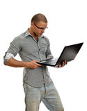 Young man wih laptop. Royalty Free Stock Photo
