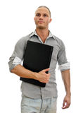 Young man wih laptop. Stock Photo