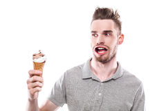 Young man with windblown mouth Royalty Free Stock Photo