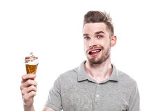 Young man with windblown mouth Royalty Free Stock Images