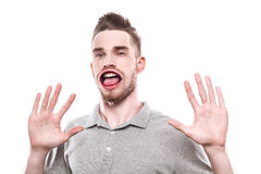Young man with windblown mouth Royalty Free Stock Photography