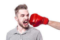 Young man with windblown mouth Stock Photo