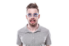 Young man with windblown mouth Stock Photos