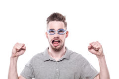 Young man with windblown mouth Royalty Free Stock Image