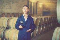 Young man winery worker wearing coat in large cellar Royalty Free Stock Photos