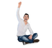 Young man winner hand up Royalty Free Stock Images