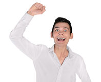 Young man winner hand up Royalty Free Stock Photos