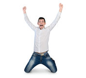 Young man winner hands up Royalty Free Stock Images