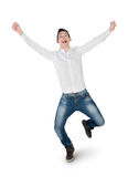 Young man winner hands up Stock Images