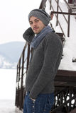 Young man in winter Stock Photo