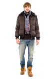 Young man in winter clothing Stock Images