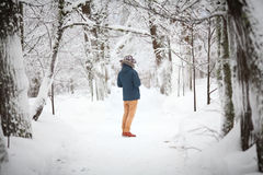 A young man in a winter Stock Photography