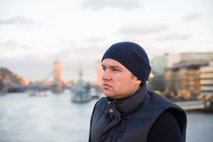Young man in winter hat Royalty Free Stock Photography