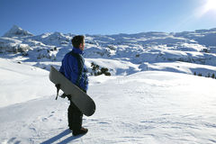 Young man on winter vacation Stock Images