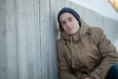 Young man in winter Stock Photography