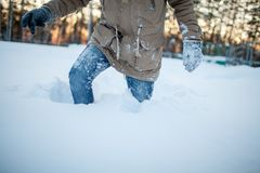 Young man in winter Stock Images