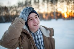 Young man in winter Royalty Free Stock Images