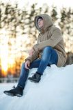 Young man in winter Stock Photos