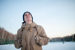 Young man in winter Royalty Free Stock Photos