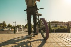 Free Young Man With A Bmx Bike And A Backpack In The City Royalty Free Stock Image - 128486616