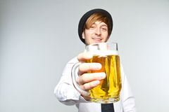 Young Man With Beer Stock Photos
