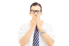 Free Young Man With Hands Over His Mounth, Stunned And Speechless Royalty Free Stock Images - 34173209