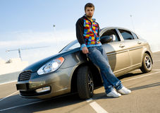 Young Man With His New Car Royalty Free Stock Photography