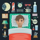 Young Man With Sleep Problem Insomnia And Items. Stock Photography