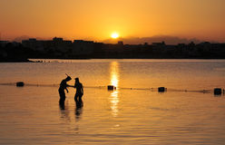 Young man and woman. Young man and woman at sunset dive. Egypt royalty free stock images