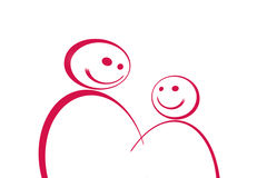 Young man and woman. Vector of young man and woman, happy man and woman in white background Stock Image