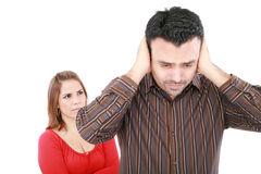 Young man and woman angry Royalty Free Stock Images