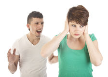 Young man and woman arguing Stock Image