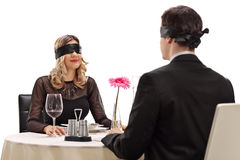 Young man and woman on a blind date Royalty Free Stock Photos